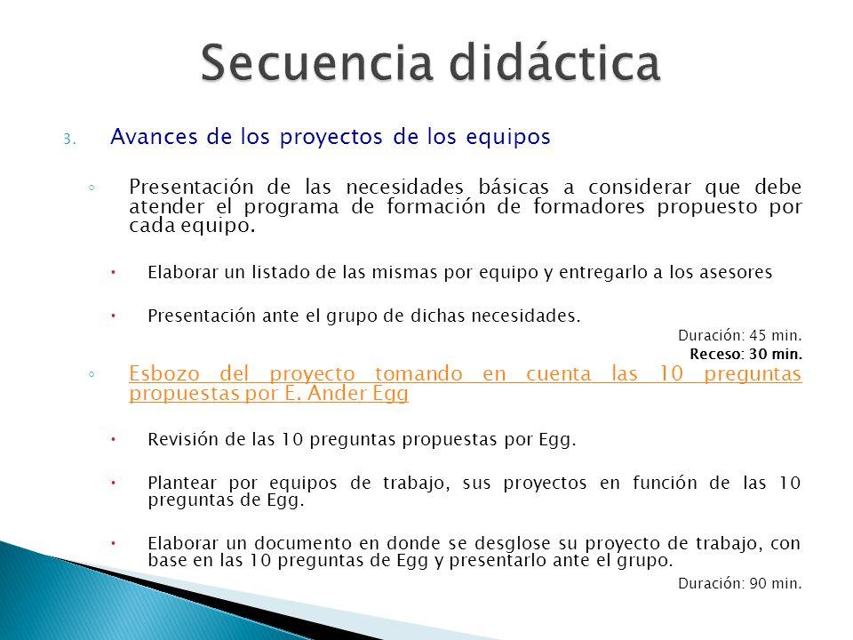 3. Avances de los proyectos de los equipos Presentación de las necesidades básicas a considerar que debe atender el programa de formación de formadore