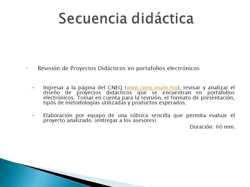Revisión de Proyectos Didácticos en portafolios electrónicos Ingresar a la página del CNEQ (www.cneq.unam.mx), revisar y analizar el diseño de proyect
