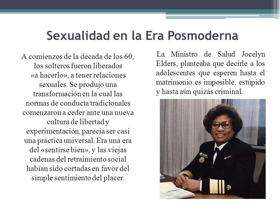 Sexualidad en la Era Posmoderna A comienzos de la década de los 60, los solteros fueron liberados «a hacerlo», a tener relaciones sexuales. Se produjo