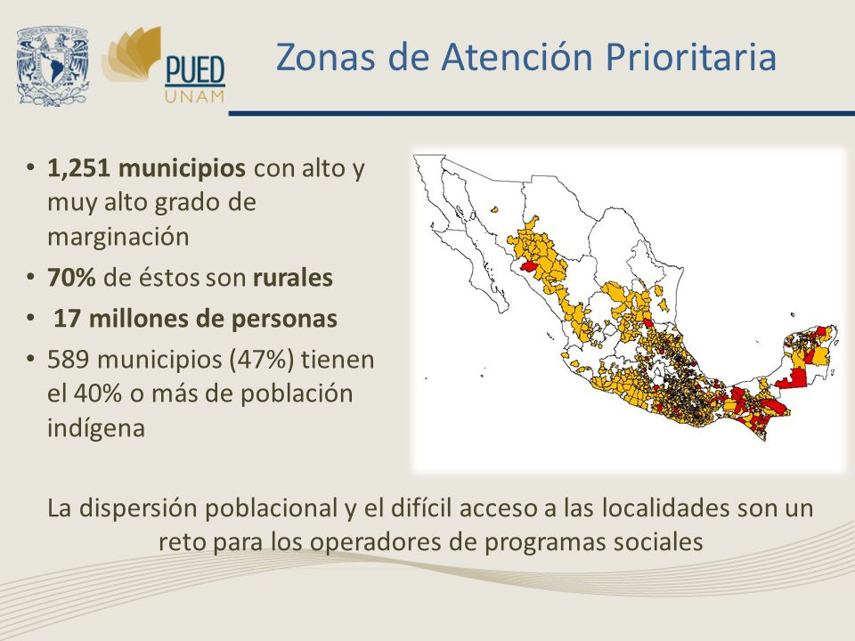 Zonas de Atención Prioritaria 1,251 municipios con alto y muy alto grado de marginación 70% de éstos son rurales 17 millones de personas 589 municipios (47%) tienen el 40% o más de población indígena La dispersión poblacional y el difícil acceso a las localidades son un reto para los operadores de programas sociales