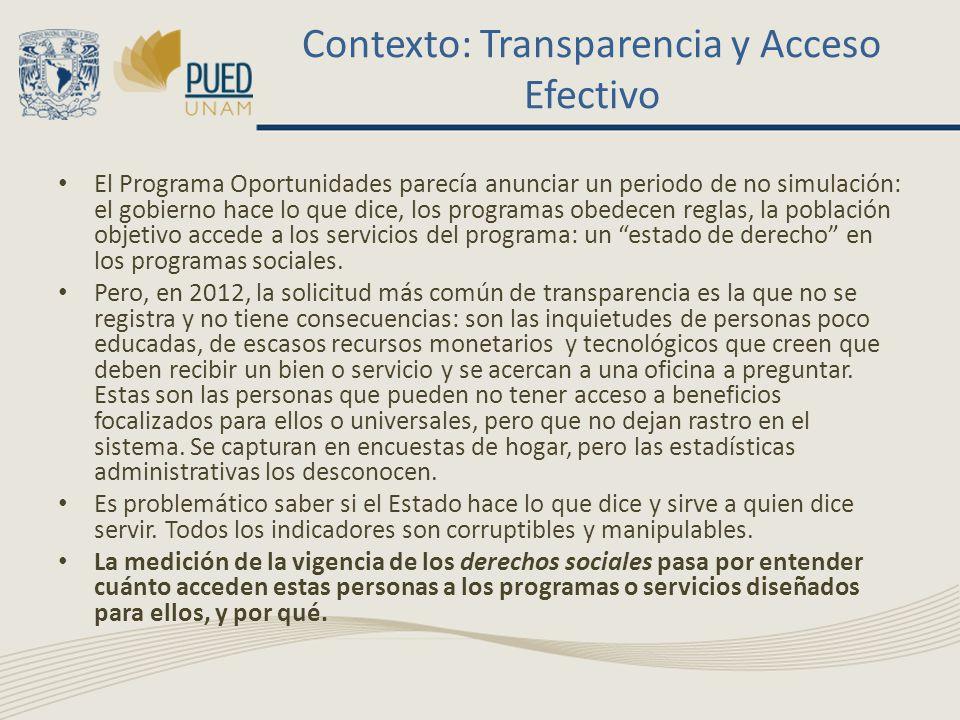 Contexto: Transparencia y Acceso Efectivo El Programa Oportunidades parecía anunciar un periodo de no simulación: el gobierno hace lo que dice, los pr