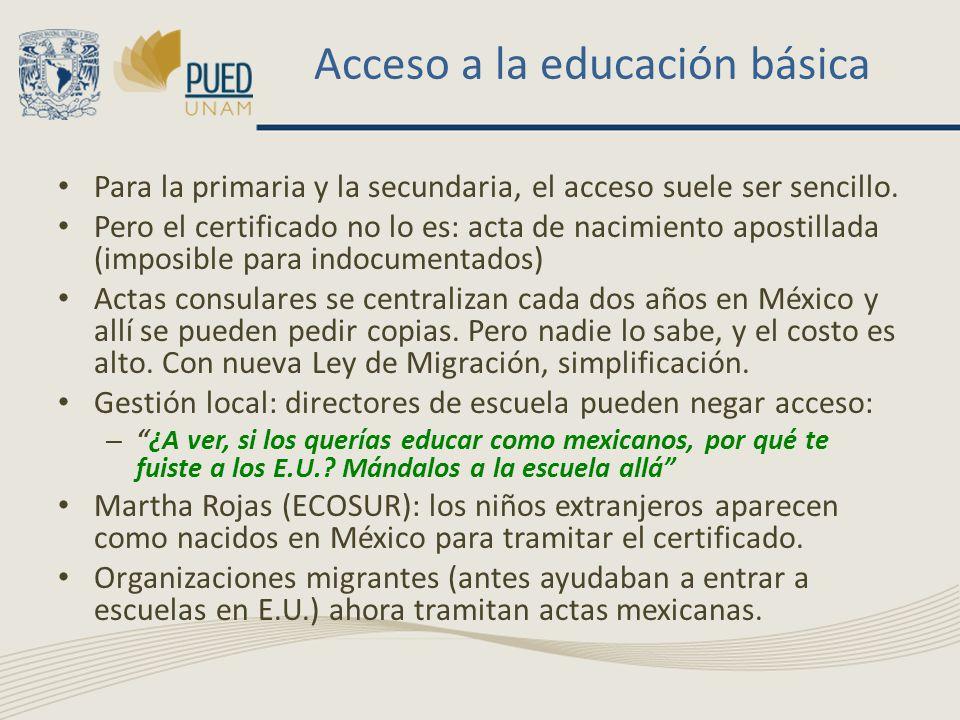 Acceso a la educación básica Para la primaria y la secundaria, el acceso suele ser sencillo.