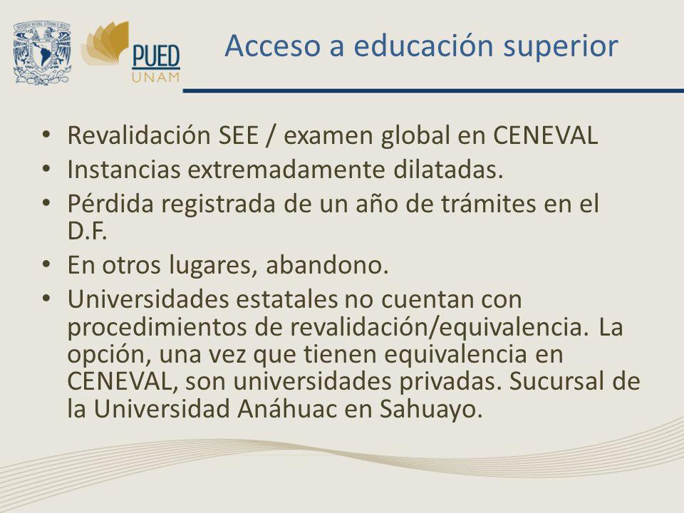 Acceso a educación superior Revalidación SEE / examen global en CENEVAL Instancias extremadamente dilatadas. Pérdida registrada de un año de trámites