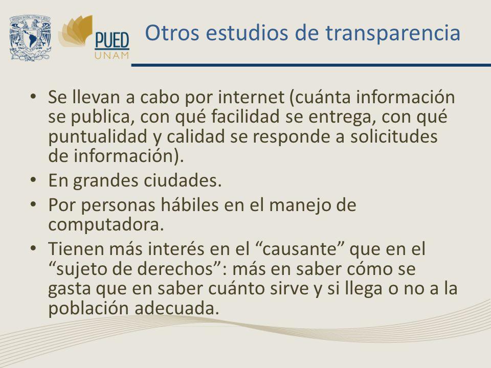 Otros estudios de transparencia Se llevan a cabo por internet (cuánta información se publica, con qué facilidad se entrega, con qué puntualidad y cali