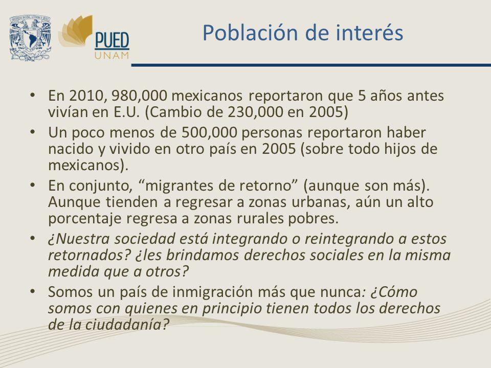 Población de interés En 2010, 980,000 mexicanos reportaron que 5 años antes vivían en E.U. (Cambio de 230,000 en 2005) Un poco menos de 500,000 person