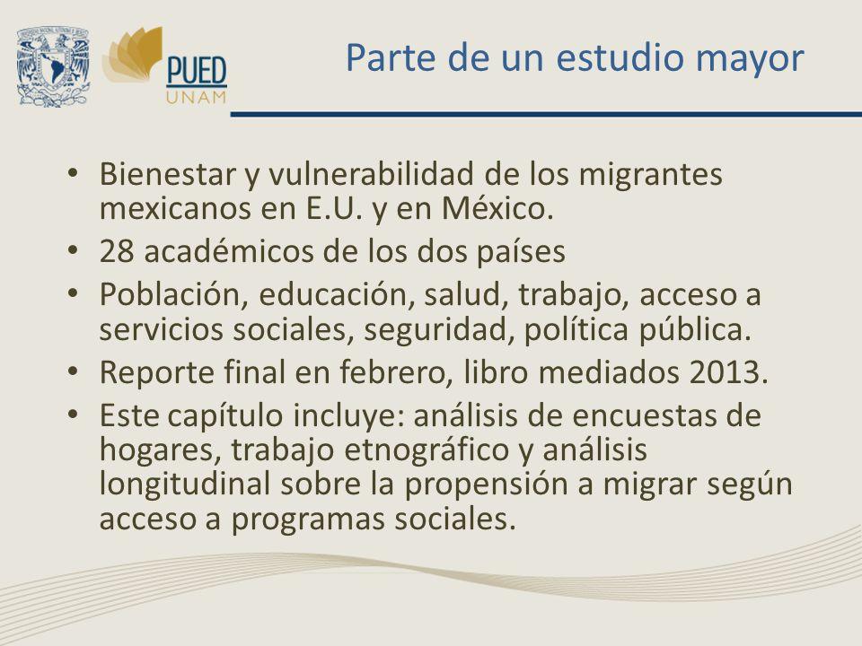 Parte de un estudio mayor Bienestar y vulnerabilidad de los migrantes mexicanos en E.U. y en México. 28 académicos de los dos países Población, educac