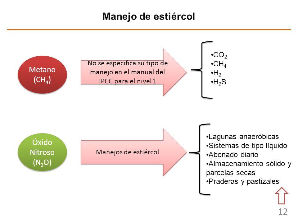 12 Manejo de estiércol Metano (CH 4 ) Metano (CH 4 ) No se especifica su tipo de manejo en el manual del IPCC para el nivel 1 CO 2 CH 4 H 2 H 2 S Lagu