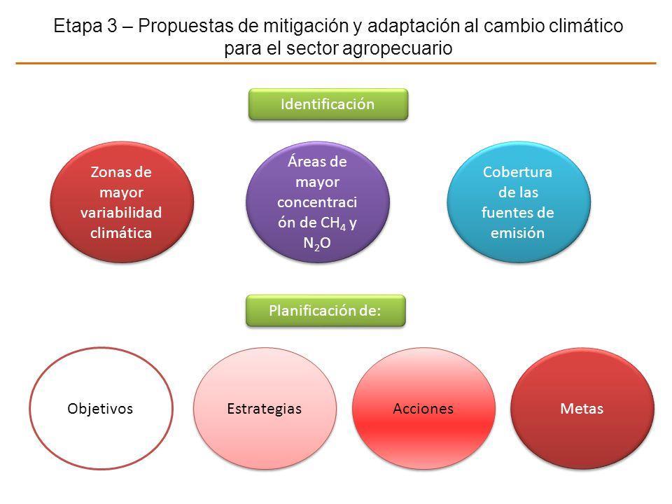 Etapa 3 – Propuestas de mitigación y adaptación al cambio climático para el sector agropecuario Objetivos Estrategias Acciones Planificación de: Ident
