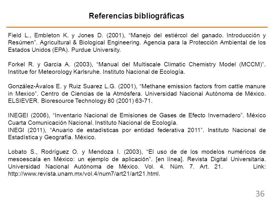 36 Referencias bibliográficas Field L., Embleton K. y Jones D. (2001), Manejo del estiércol del ganado. Introducción y Resúmen. Agricultural & Biologi