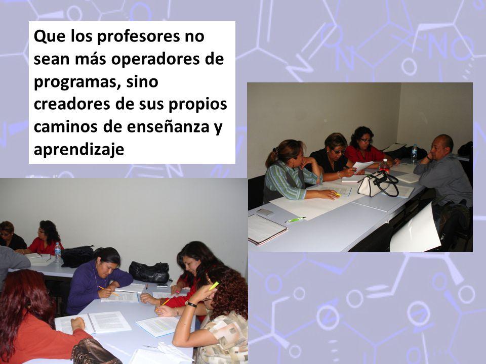 Que los profesores no sean más operadores de programas, sino creadores de sus propios caminos de enseñanza y aprendizaje