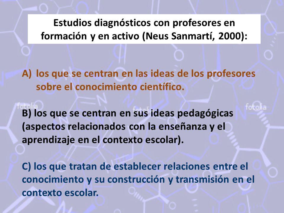 Estudios diagnósticos con profesores en formación y en activo (Neus Sanmartí, 2000): A)los que se centran en las ideas de los profesores sobre el conocimiento científico.