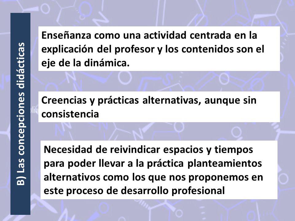 B) Las concepciones didácticas Enseñanza como una actividad centrada en la explicación del profesor y los contenidos son el eje de la dinámica. Creenc