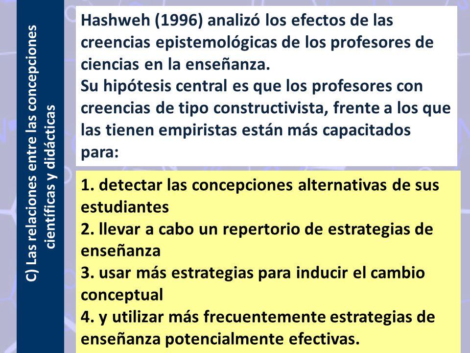 C) Las relaciones entre las concepciones científicas y didácticas Hashweh (1996) analizó los efectos de las creencias epistemológicas de los profesores de ciencias en la enseñanza.