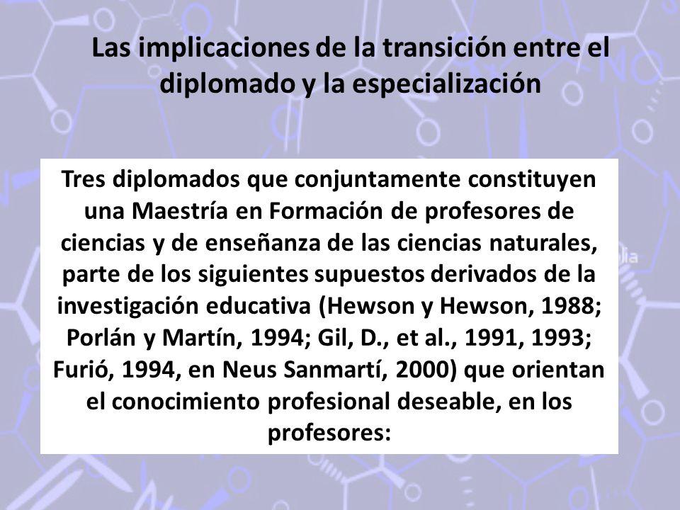 Las implicaciones de la transición entre el diplomado y la especialización Tres diplomados que conjuntamente constituyen una Maestría en Formación de profesores de ciencias y de enseñanza de las ciencias naturales, parte de los siguientes supuestos derivados de la investigación educativa (Hewson y Hewson, 1988; Porlán y Martín, 1994; Gil, D., et al., 1991, 1993; Furió, 1994, en Neus Sanmartí, 2000) que orientan el conocimiento profesional deseable, en los profesores: