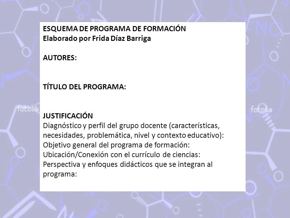 ESQUEMA DE PROGRAMA DE FORMACIÓN Elaborado por Frida Díaz Barriga AUTORES: TÍTULO DEL PROGRAMA: JUSTIFICACIÓN Diagnóstico y perfil del grupo docente (características, necesidades, problemática, nivel y contexto educativo): Objetivo general del programa de formación: Ubicación/Conexión con el currículo de ciencias: Perspectiva y enfoques didácticos que se integran al programa: