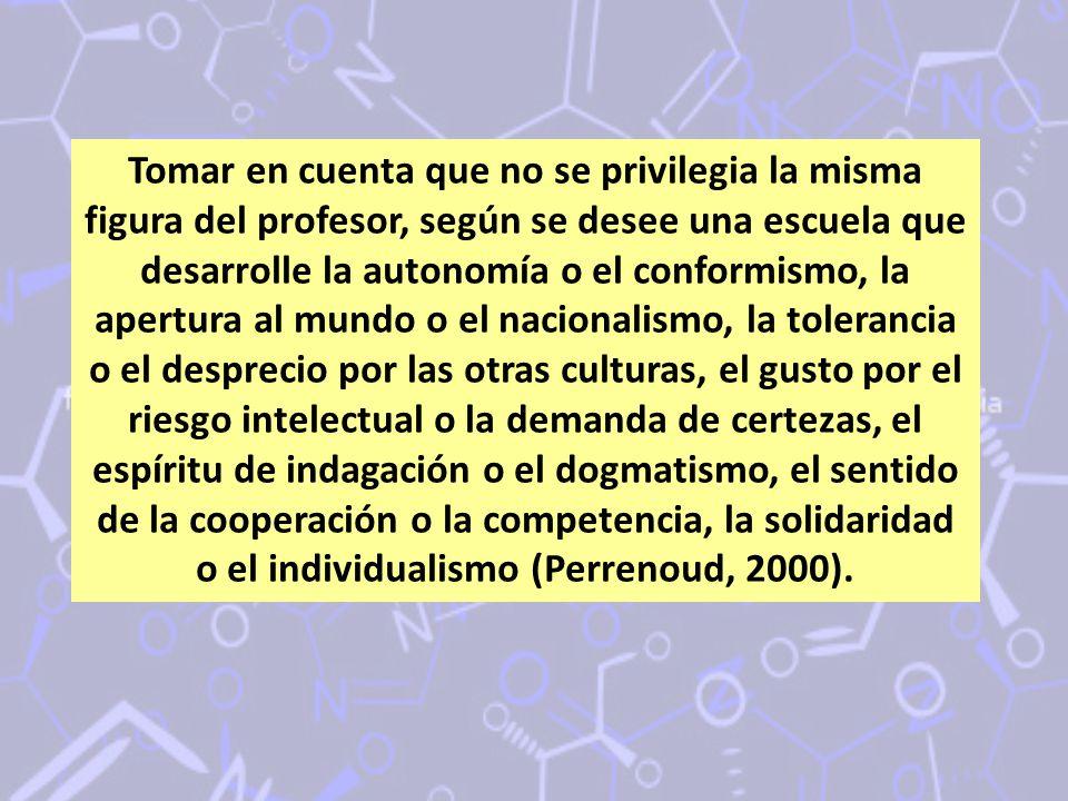 Tomar en cuenta que no se privilegia la misma figura del profesor, según se desee una escuela que desarrolle la autonomía o el conformismo, la apertur