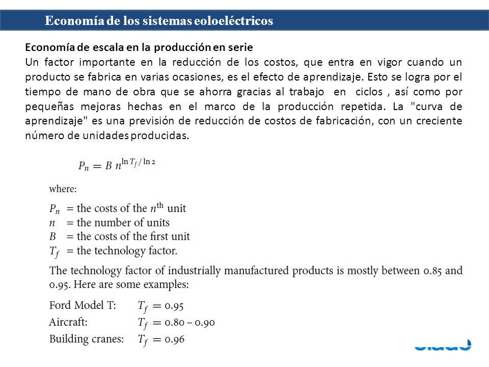 Economía de los sistemas eoloeléctricos Economía de escala en la producción en serie Un factor importante en la reducción de los costos, que entra en