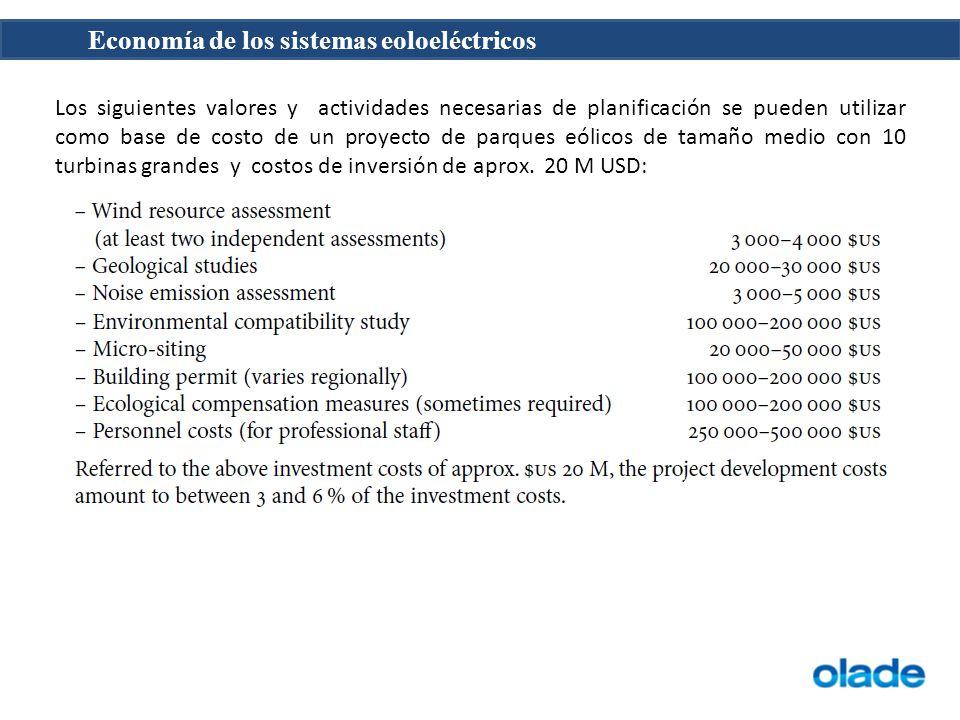 Los siguientes valores y actividades necesarias de planificación se pueden utilizar como base de costo de un proyecto de parques eólicos de tamaño med
