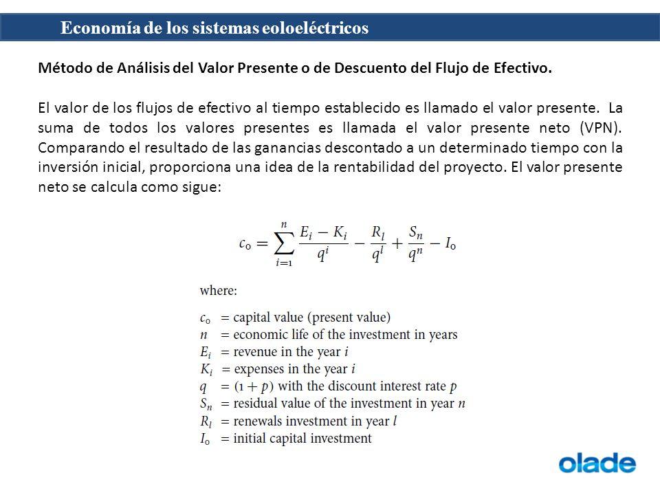 Economía de los sistemas eoloeléctricos Método de Análisis del Valor Presente o de Descuento del Flujo de Efectivo. El valor de los flujos de efectivo