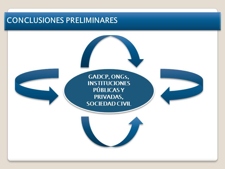 CONCLUSIONES PRELIMINARES GADCP, ONGs, INSTITUCIONES PÚBLICAS Y PRIVADAS, SOCIEDAD CIVIL GADCP, ONGs, INSTITUCIONES PÚBLICAS Y PRIVADAS, SOCIEDAD CIVIL