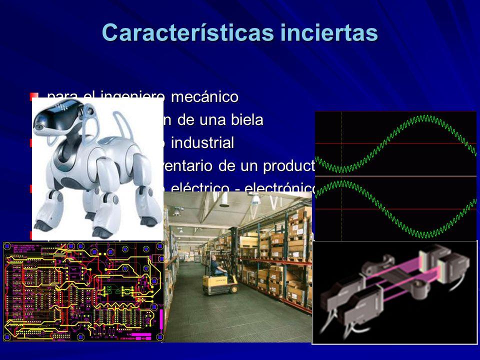 Características inciertas para el ingeniero mecánico –la deformación de una biela para el ingeniero industrial –el nivel de inventario de un producto