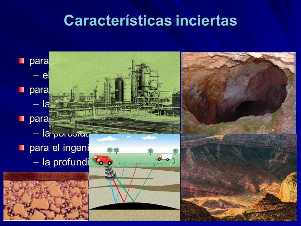 para el ingeniero geólogo –el espesor de un estrato para el ingeniero geofísico –la velocidad de una onda sísmica para el ingeniero petrolero –la poro