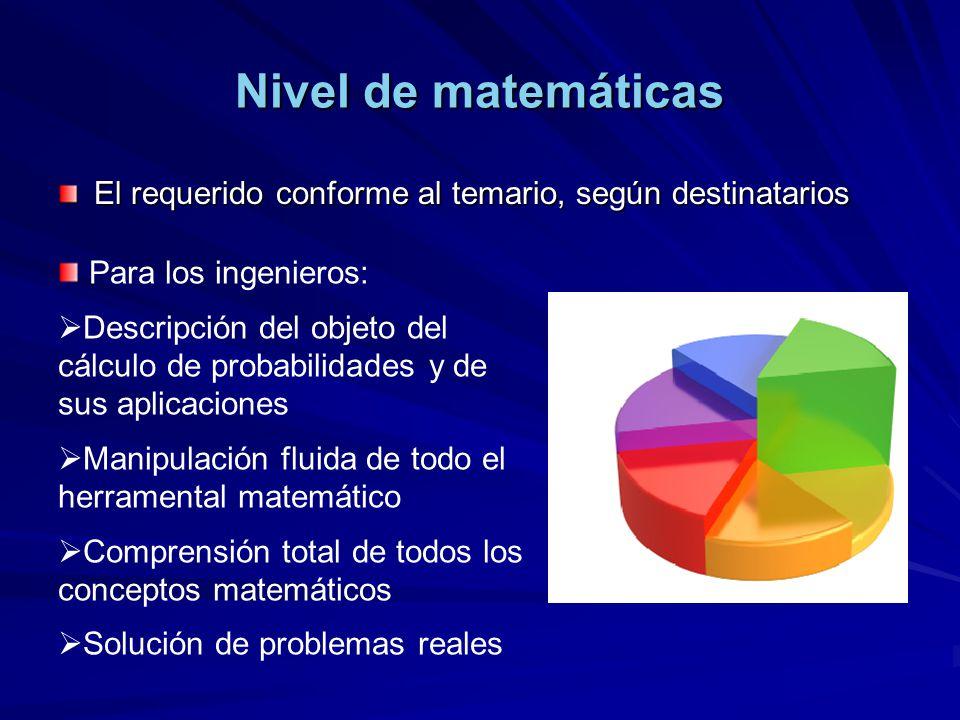 Nivel de matemáticas El requerido conforme al temario, según destinatarios Para los ingenieros: Descripción del objeto del cálculo de probabilidades y