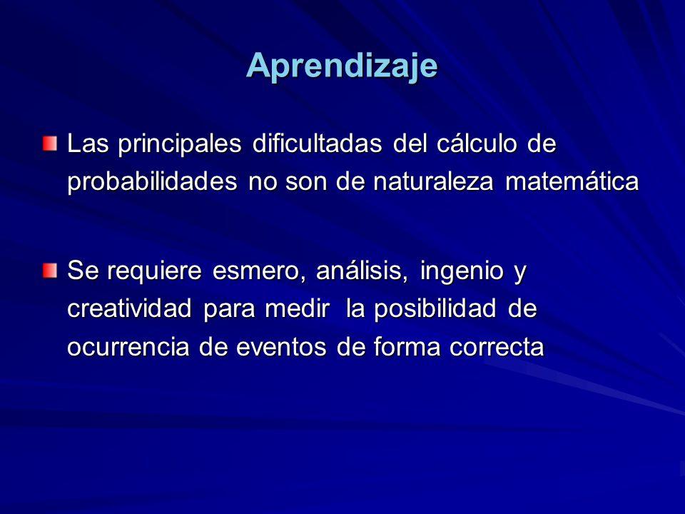 Aprendizaje Las principales dificultadas del cálculo de probabilidades no son de naturaleza matemática Se requiere esmero, análisis, ingenio y creativ