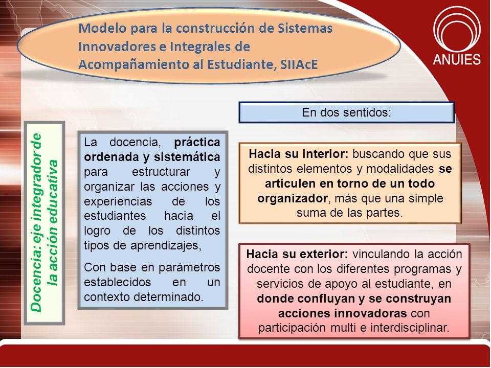 11 Docencia: eje integrador de la acción educativa La docencia, práctica ordenada y sistemática para estructurar y organizar las acciones y experiencias de los estudiantes hacia el logro de los distintos tipos de aprendizajes, Con base en parámetros establecidos en un contexto determinado.