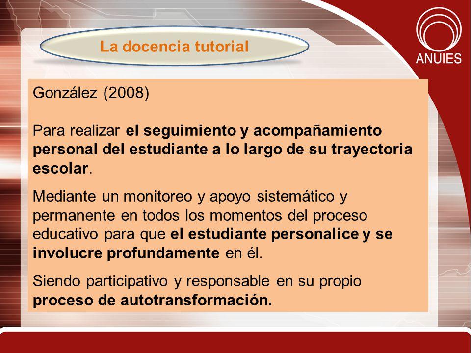 15 González (2008) Para realizar el seguimiento y acompañamiento personal del estudiante a lo largo de su trayectoria escolar.
