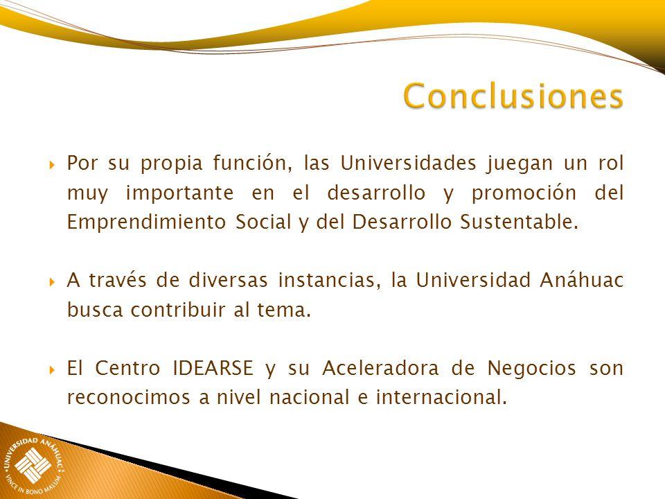 Por su propia función, las Universidades juegan un rol muy importante en el desarrollo y promoción del Emprendimiento Social y del Desarrollo Sustenta