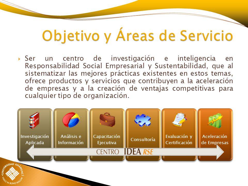 Objetivo y Áreas de Servicio Ser un centro de investigación e inteligencia en Responsabilidad Social Empresarial y Sustentabilidad, que al sistematiza