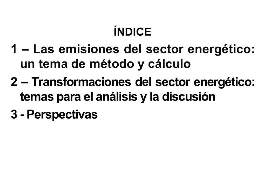 ÍNDICE 1 – Las emisiones del sector energético: un tema de método y cálculo 2 – Transformaciones del sector energético: temas para el análisis y la discusión 3 - Perspectivas