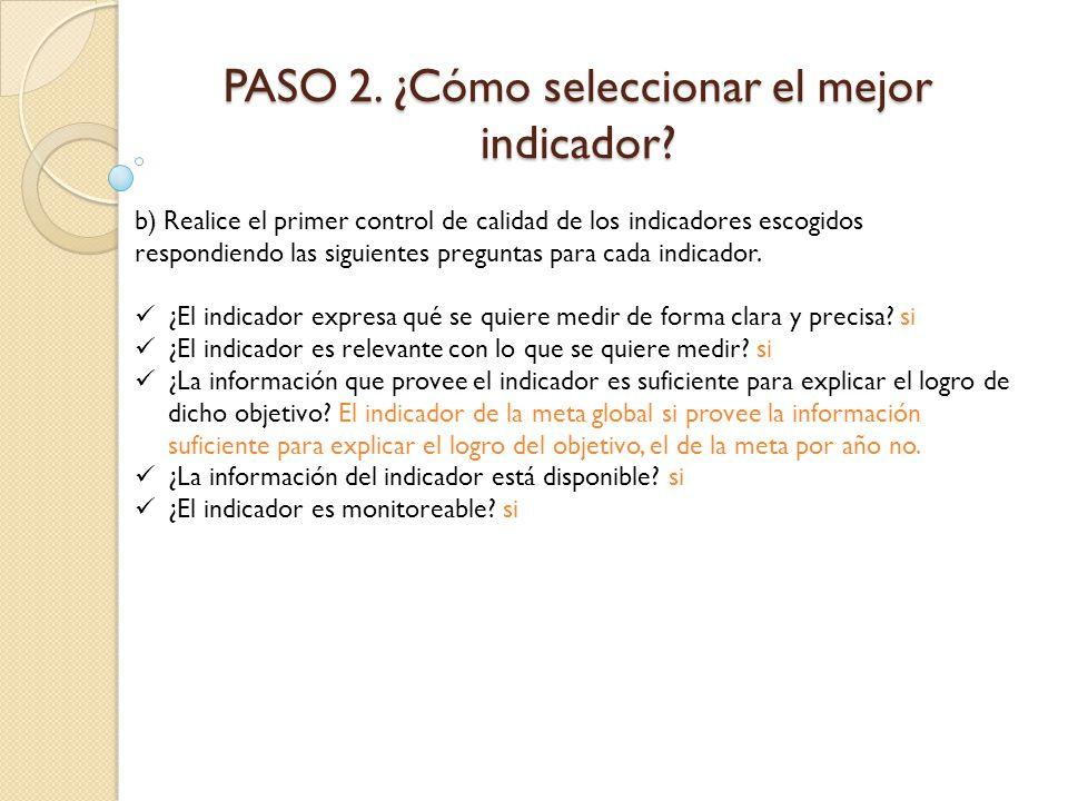 PASO 2. ¿Cómo seleccionar el mejor indicador? b) Realice el primer control de calidad de los indicadores escogidos respondiendo las siguientes pregunt