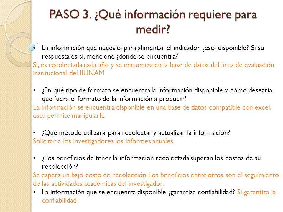 PASO 3. ¿Qué información requiere para medir? La información que necesita para alimentar el indicador ¿está disponible? Si su respuesta es si, mencion