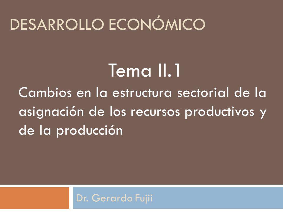 DESARROLLO ECONÓMICO Dr. Gerardo Fujii Tema II.1 Cambios en la estructura sectorial de la asignación de los recursos productivos y de la producción