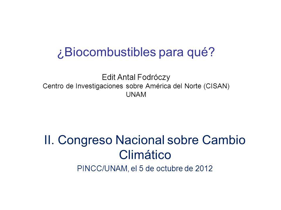 2008: segunda versión Ley de promoción de biocombustibles Encabezado por SENER, ministerio de energía, –Comisión Intersecretarial de Biocombustibles (SAGARPA, SENER, SEMARNAT, SE, SHCP) –SENER facultad de otorgar permisos Promovido por: inversionistas estadounidenses asociados con mexicanos, sectores de la comunidad científica I+D Abre el mercado de energía a la competencia, permiso; –PEMEX monopolio estatal no es el único para producir y distribuir Candado al maíz –solo cuando hay excedentes, permiso SAGARPA No ofrece ningún incentivo especial nuevo y directo