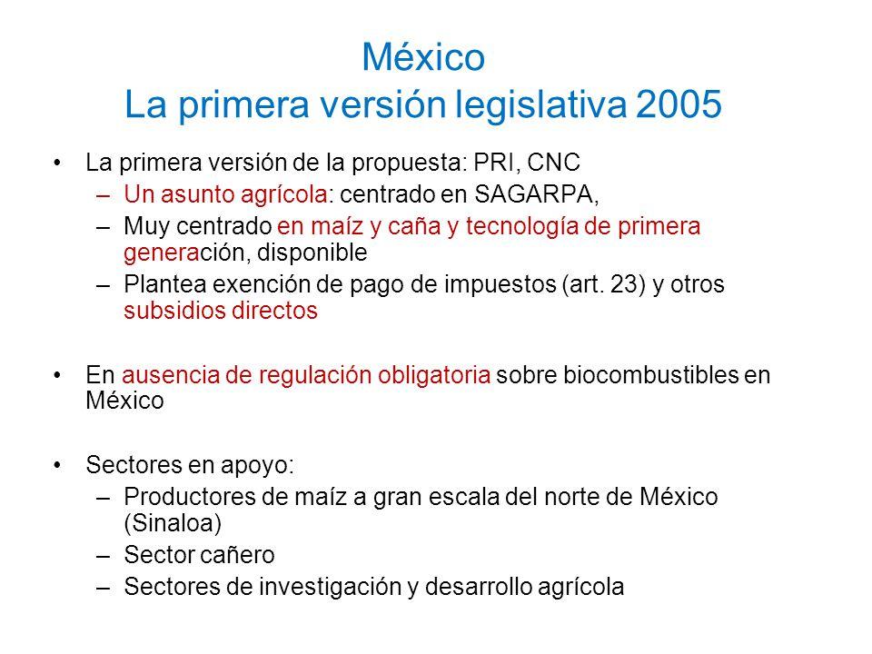 México La primera versión legislativa 2005 La primera versión de la propuesta: PRI, CNC –Un asunto agrícola: centrado en SAGARPA, –Muy centrado en maí
