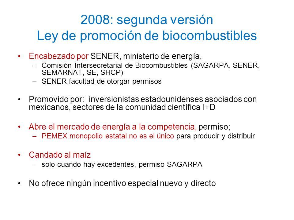 2008: segunda versión Ley de promoción de biocombustibles Encabezado por SENER, ministerio de energía, –Comisión Intersecretarial de Biocombustibles (