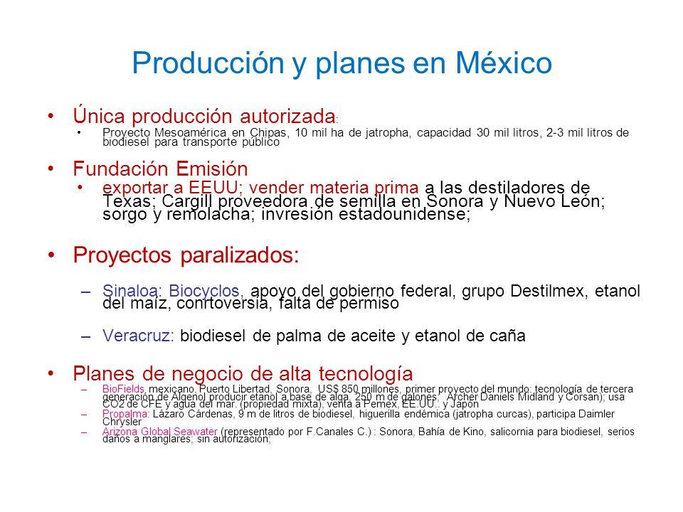 Producción y planes en México Única producción autorizada : Proyecto Mesoamérica en Chipas, 10 mil ha de jatropha, capacidad 30 mil litros, 2-3 mil li