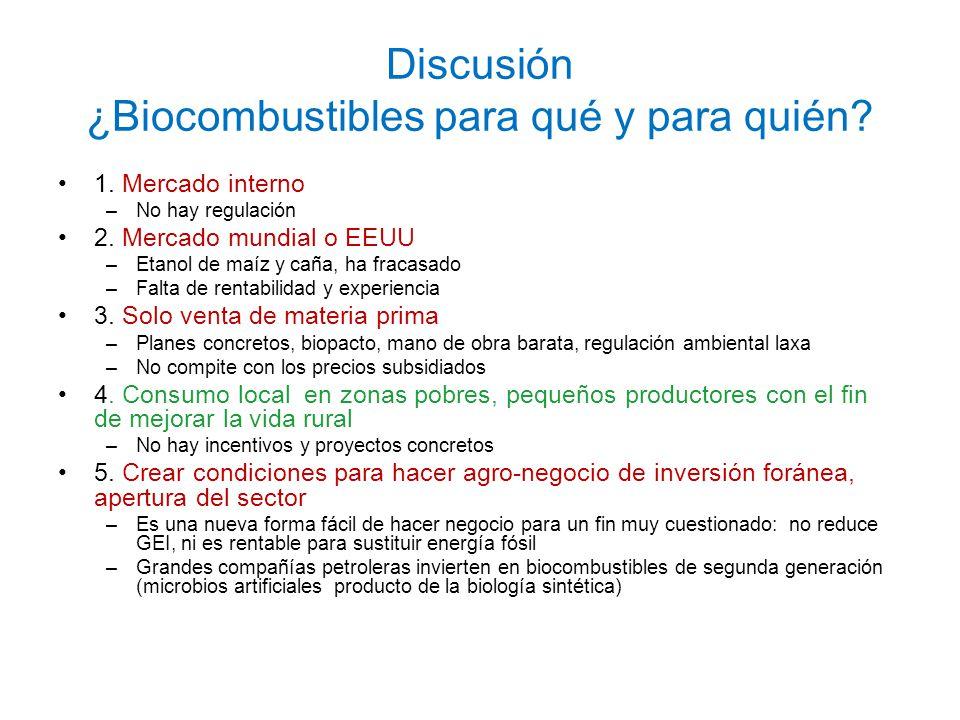 Discusión ¿Biocombustibles para qué y para quién? 1. Mercado interno –No hay regulación 2. Mercado mundial o EEUU –Etanol de maíz y caña, ha fracasado