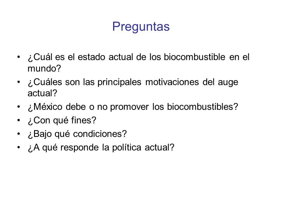 Preguntas ¿Cuál es el estado actual de los biocombustible en el mundo? ¿Cuáles son las principales motivaciones del auge actual? ¿México debe o no pro