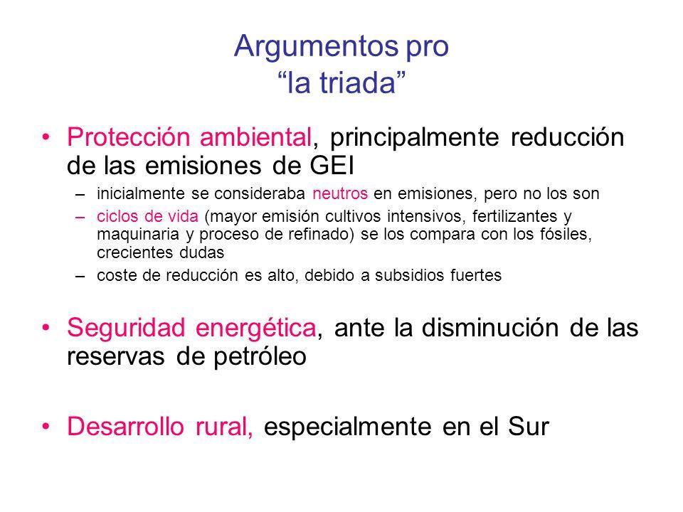 Argumentos pro la triada Protección ambiental, principalmente reducción de las emisiones de GEI –inicialmente se consideraba neutros en emisiones, per