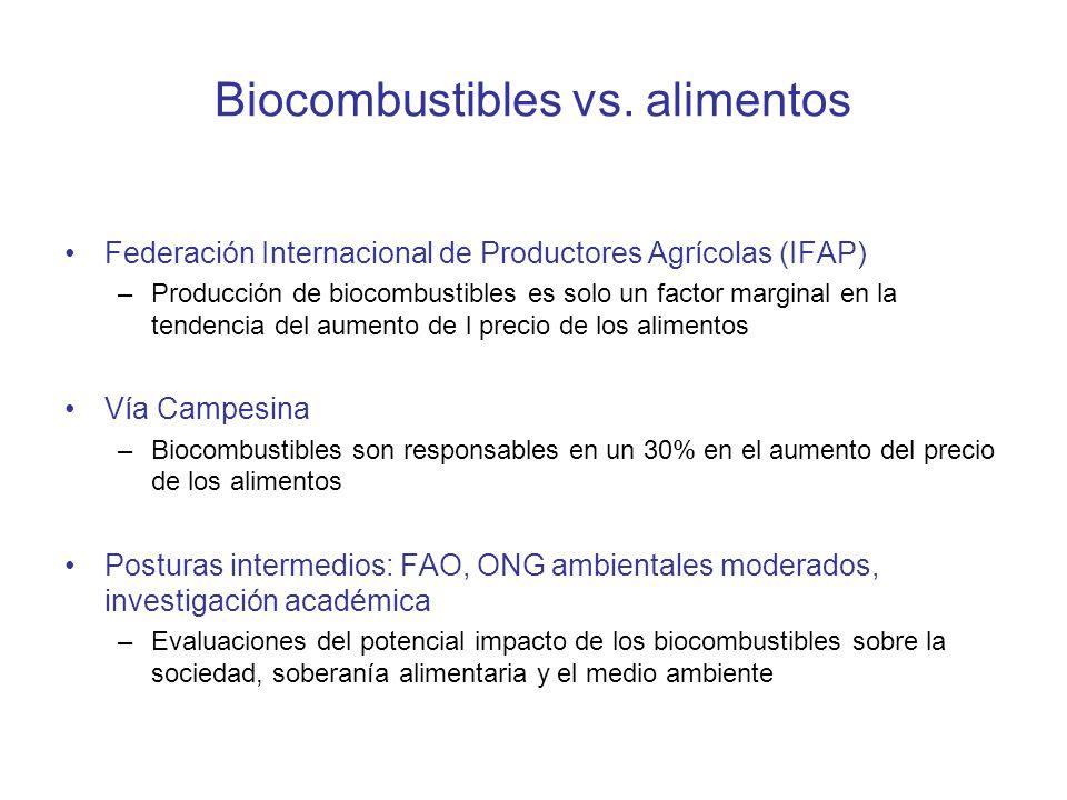 Biocombustibles vs. alimentos Federación Internacional de Productores Agrícolas (IFAP) –Producción de biocombustibles es solo un factor marginal en la