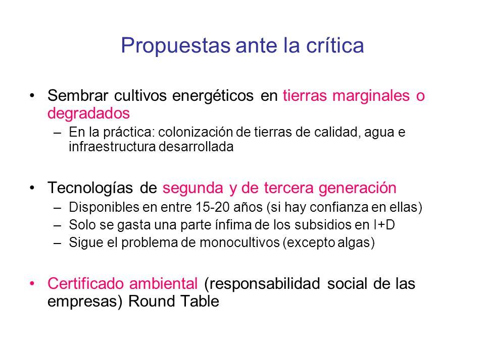 Propuestas ante la crítica Sembrar cultivos energéticos en tierras marginales o degradados –En la práctica: colonización de tierras de calidad, agua e