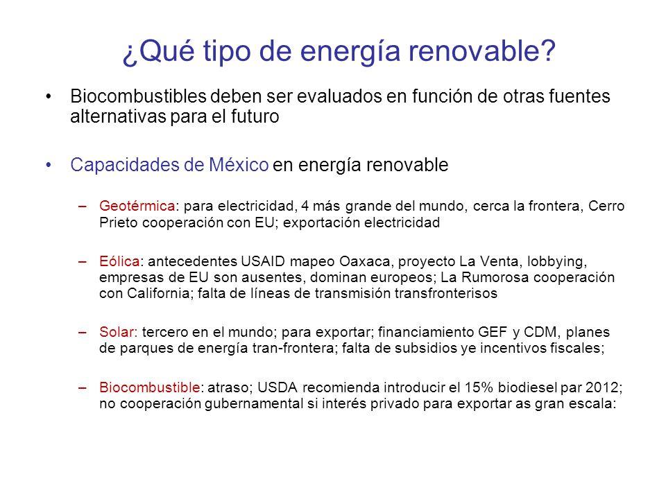 ¿Qué tipo de energía renovable? Biocombustibles deben ser evaluados en función de otras fuentes alternativas para el futuro Capacidades de México en e