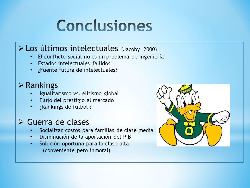 Los últimos intelectuales (Jacoby, 2000) El conflicto social no es un problema de ingeniería Estados intelectuales fallidos ¿Fuente futura de intelectuales.
