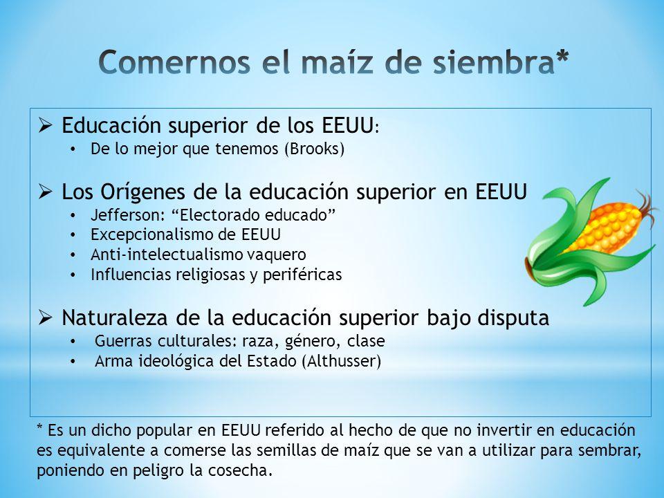 Educación bajo una democracia (Carnoy & Levin, 1987) Legitimación compensatoria (Torres and Morrow, 1999) Proyecto nacional de educación vs.