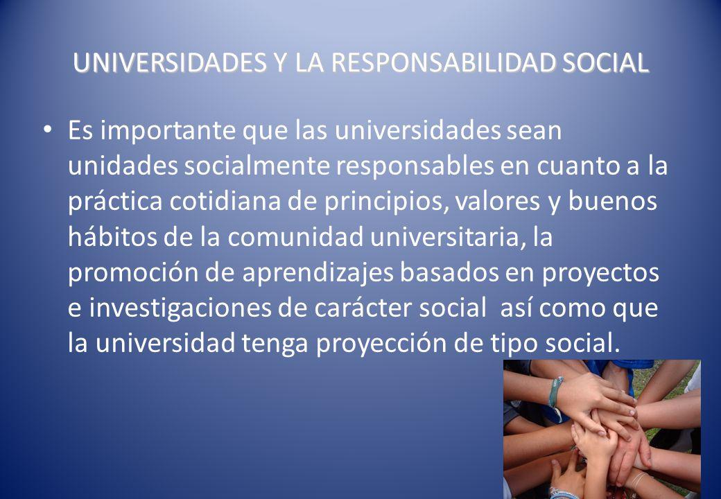La responsabilidad social en la universidad constituye un convenio entre la Universidad y la sociedad.