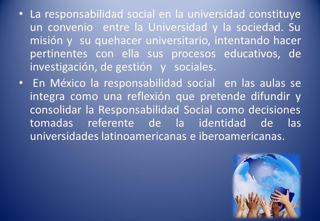 DEFINICION DE RESPONSABILIDAD SOCIAL La Responsabilidad Social Universitaria se define como la relación entre el papel desempeñado por las instituciones de educación superior para formar recursos humanos, generar conocimiento, y lo que la sociedad demande.